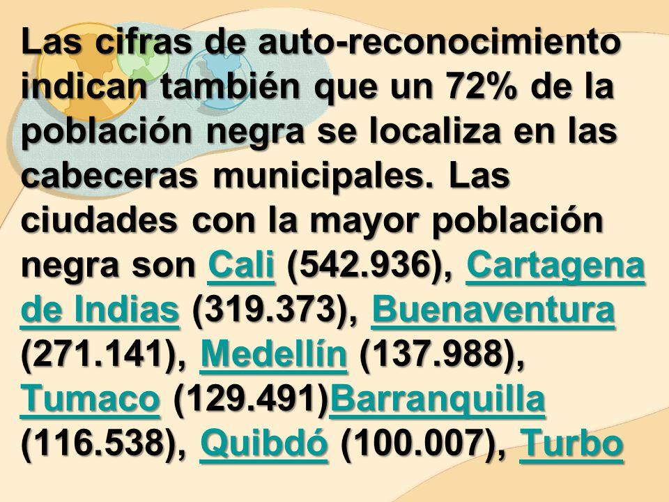 Las cifras de auto-reconocimiento indican también que un 72% de la población negra se localiza en las cabeceras municipales.