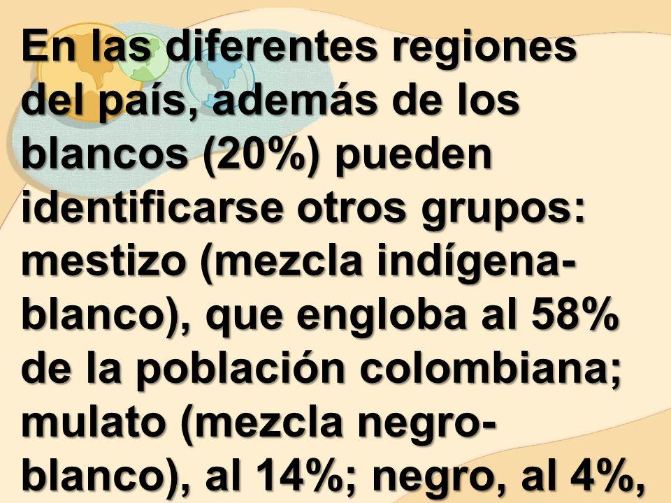 En las diferentes regiones del país, además de los blancos (20%) pueden identificarse otros grupos: mestizo (mezcla indígena-blanco), que engloba al 58% de la población colombiana; mulato (mezcla negro-blanco), al 14%; negro, al 4%, y