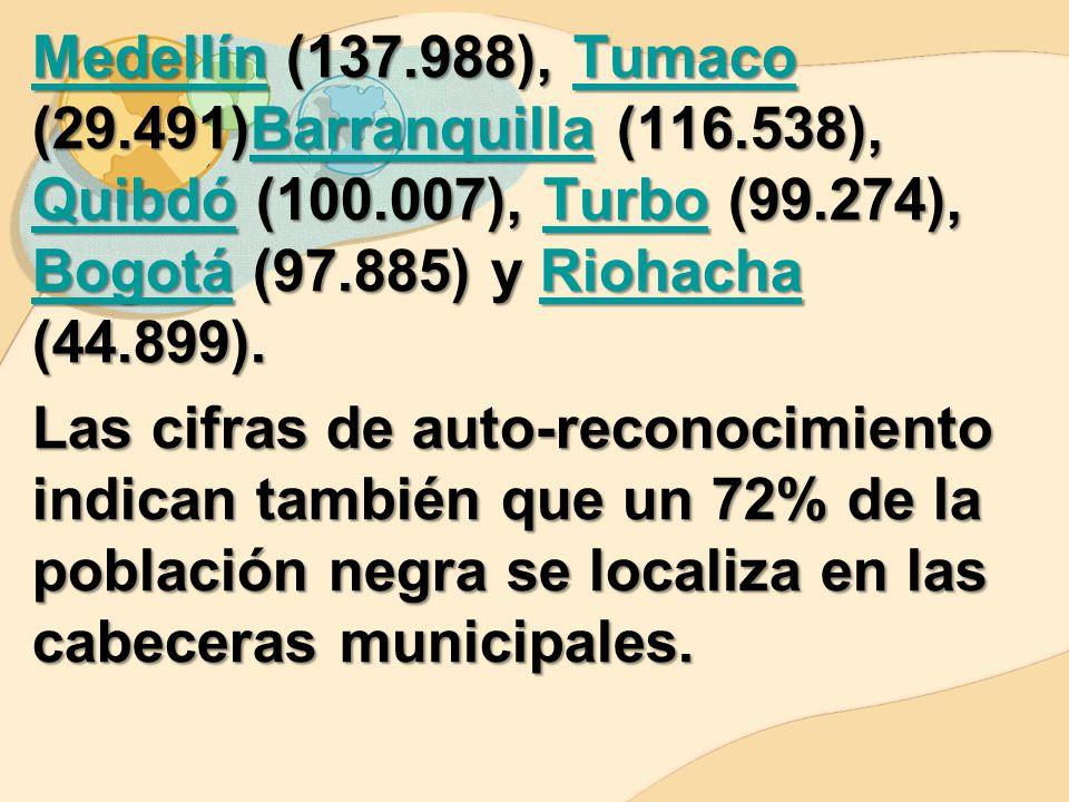 Medellín (137. 988), Tumaco (29. 491)Barranquilla (116