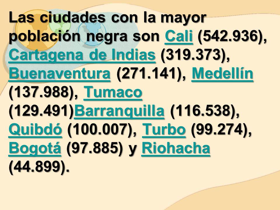 Las ciudades con la mayor población negra son Cali (542