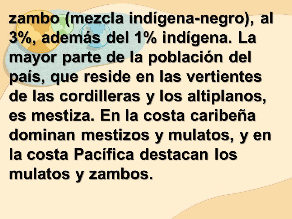 zambo (mezcla indígena-negro), al 3%, además del 1% indígena