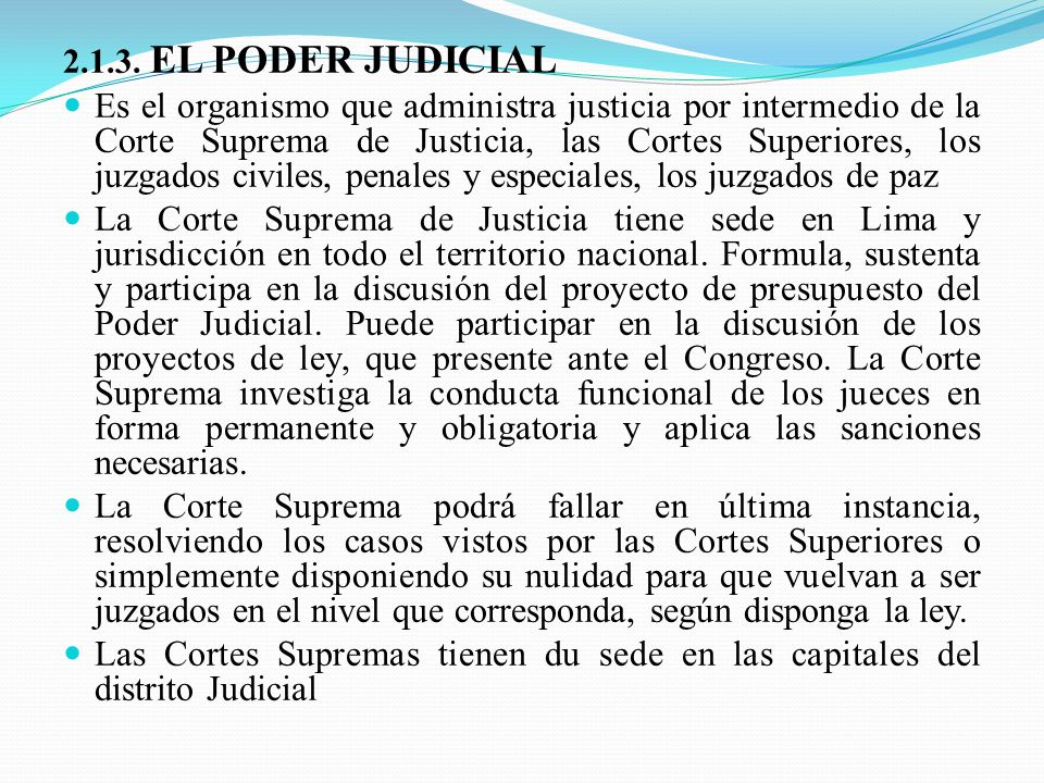 2.1.3. EL PODER JUDICIAL