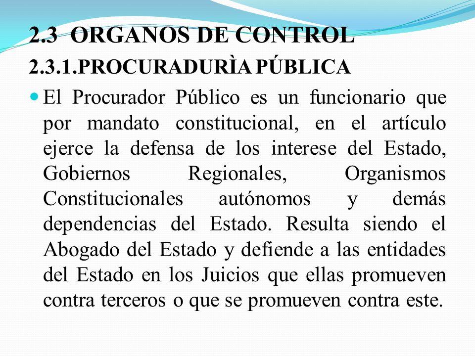 2.3 ORGANOS DE CONTROL 2.3.1.PROCURADURÌA PÚBLICA