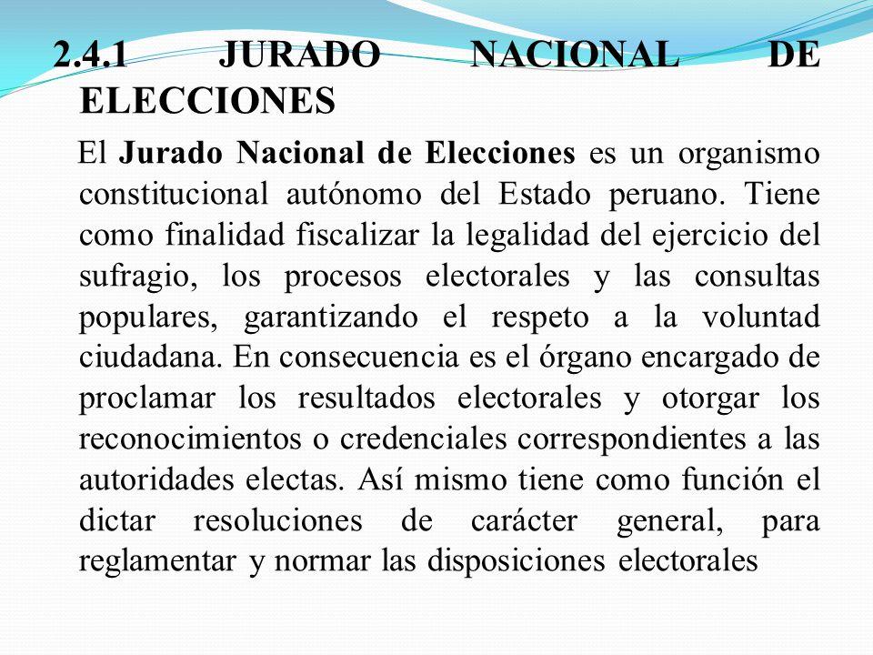 2.4.1 JURADO NACIONAL DE ELECCIONES