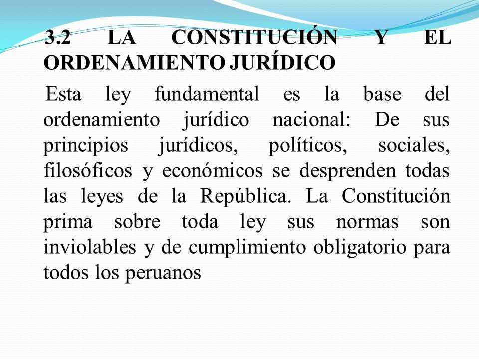 3.2 LA CONSTITUCIÓN Y EL ORDENAMIENTO JURÍDICO Esta ley fundamental es la base del ordenamiento jurídico nacional: De sus principios jurídicos, políticos, sociales, filosóficos y económicos se desprenden todas las leyes de la República.