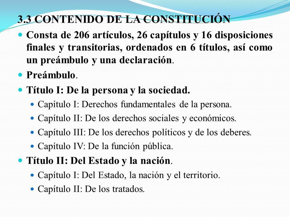 3.3 CONTENIDO DE LA CONSTITUCIÓN