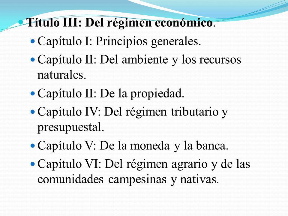 Título III: Del régimen económico.