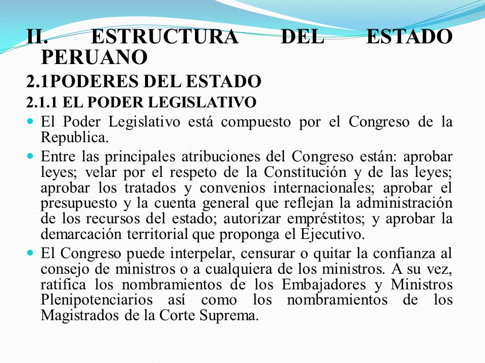 II. ESTRUCTURA DEL ESTADO PERUANO