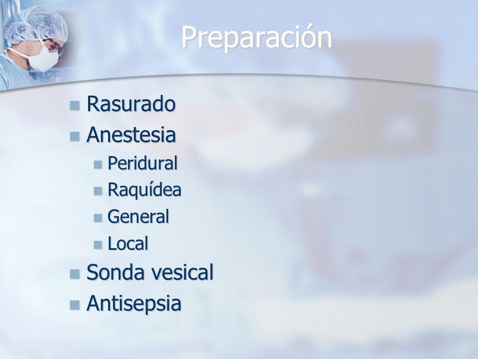 Preparación Rasurado Anestesia Sonda vesical Antisepsia Peridural