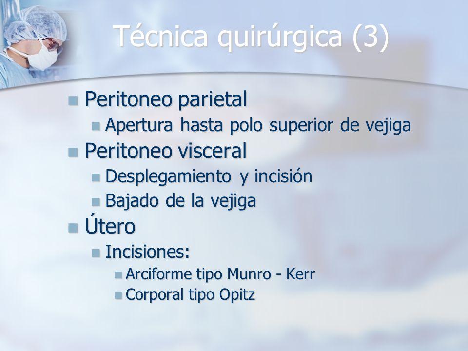 Técnica quirúrgica (3) Peritoneo parietal Peritoneo visceral Útero