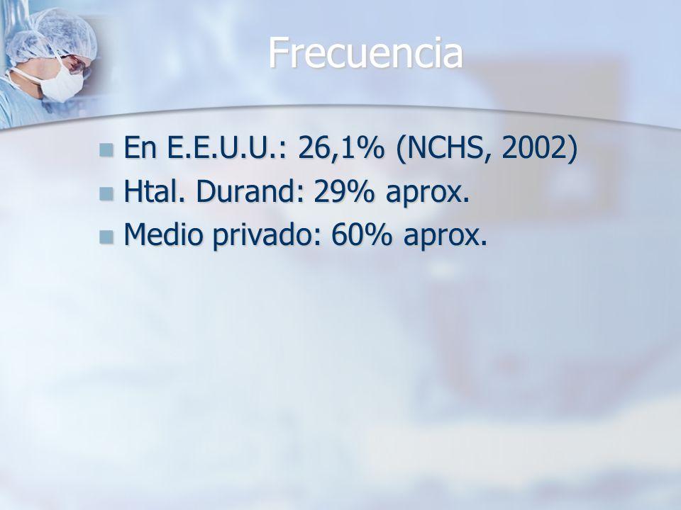 Frecuencia En E.E.U.U.: 26,1% (NCHS, 2002) Htal. Durand: 29% aprox.
