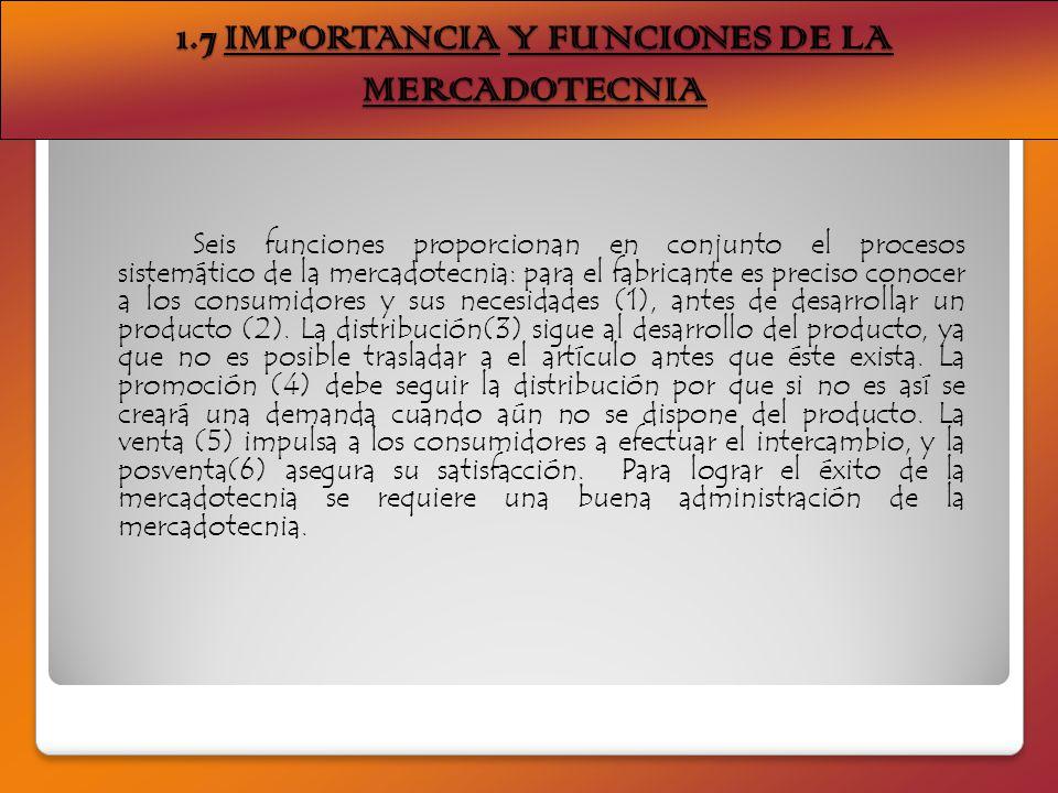 1.7 IMPORTANCIA Y FUNCIONES DE LA MERCADOTECNIA