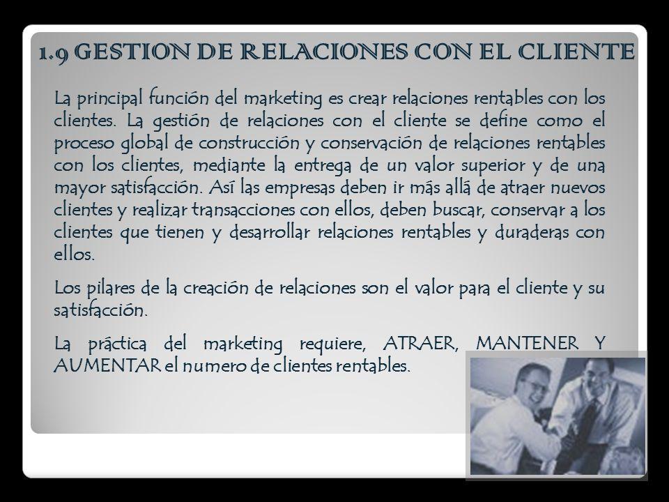 1.9 GESTION DE RELACIONES CON EL CLIENTE