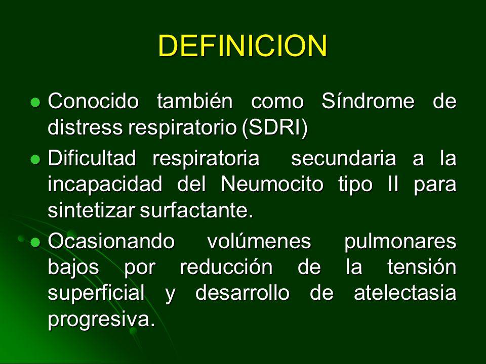 DEFINICION Conocido también como Síndrome de distress respiratorio (SDRI)