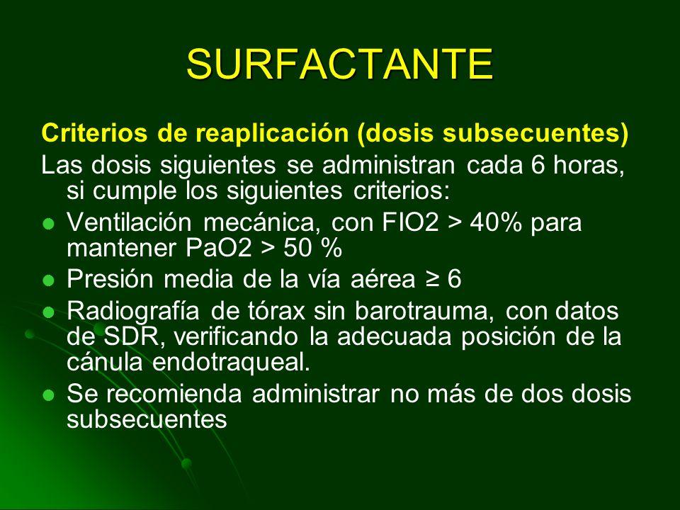 SURFACTANTE Criterios de reaplicación (dosis subsecuentes)