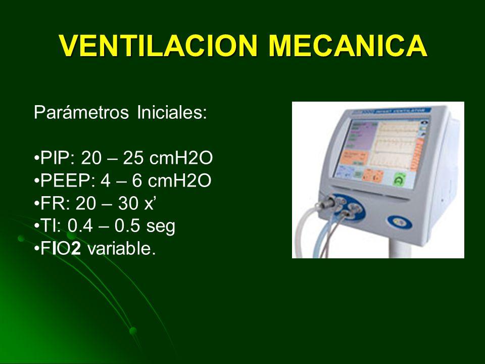 VENTILACION MECANICA Parámetros Iniciales: PIP: 20 – 25 cmH2O