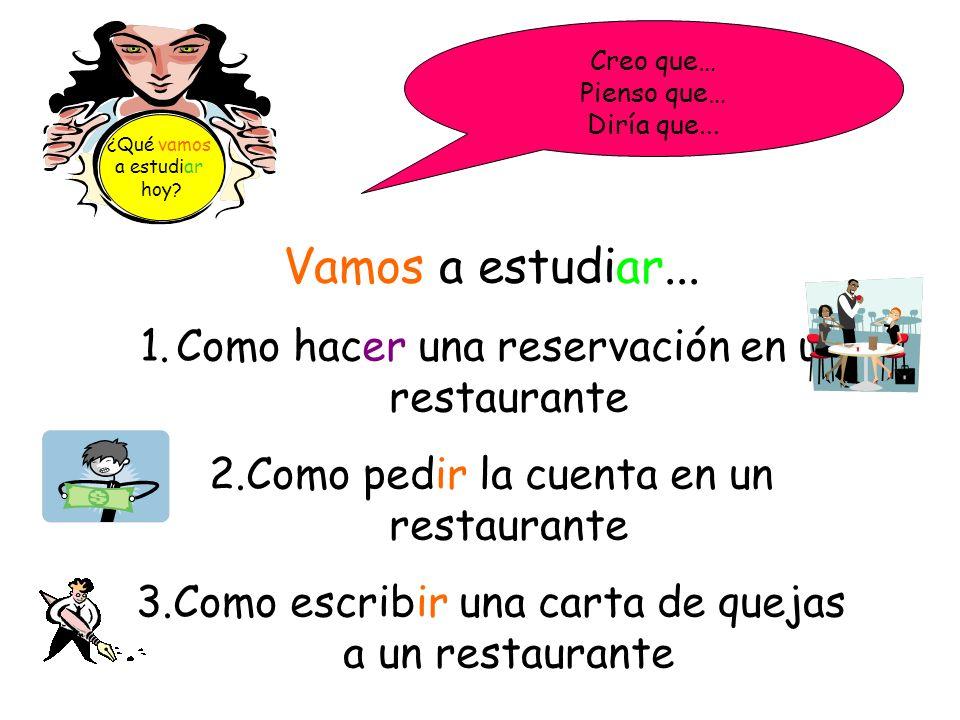 Vamos a estudiar... Como hacer una reservación en un restaurante