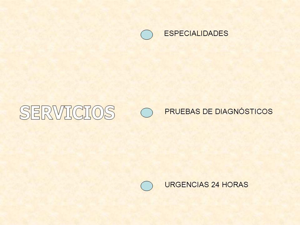 ESPECIALIDADES SERVICIOS PRUEBAS DE DIAGNÓSTICOS URGENCIAS 24 HORAS
