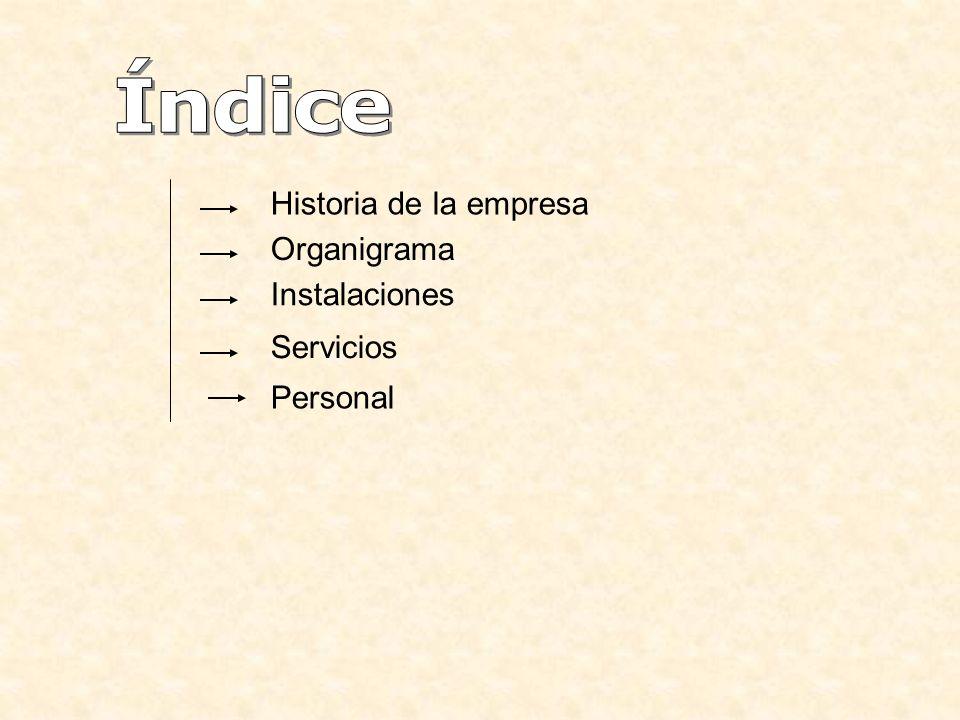 Índice Historia de la empresa Organigrama Instalaciones Servicios