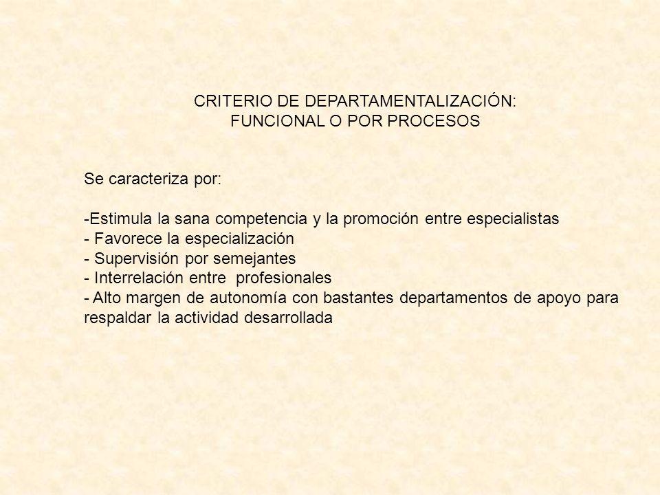 CRITERIO DE DEPARTAMENTALIZACIÓN: FUNCIONAL O POR PROCESOS
