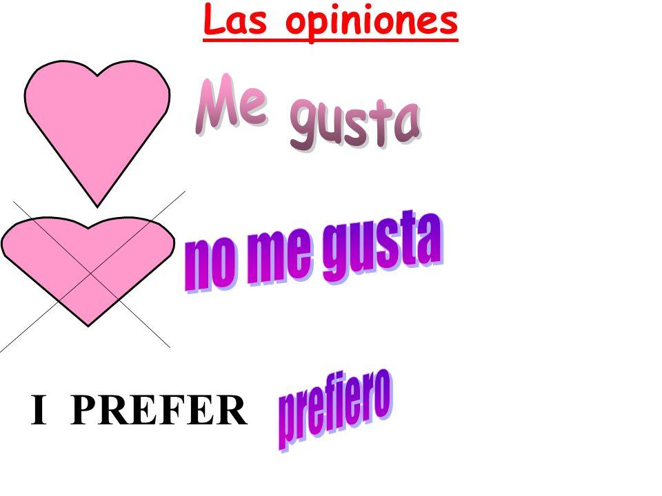 Las opiniones Me gusta no me gusta prefiero I PREFER