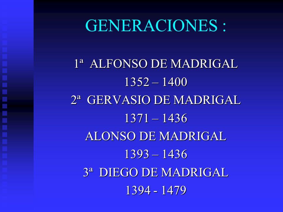 GENERACIONES : 1ª ALFONSO DE MADRIGAL 1352 – 1400