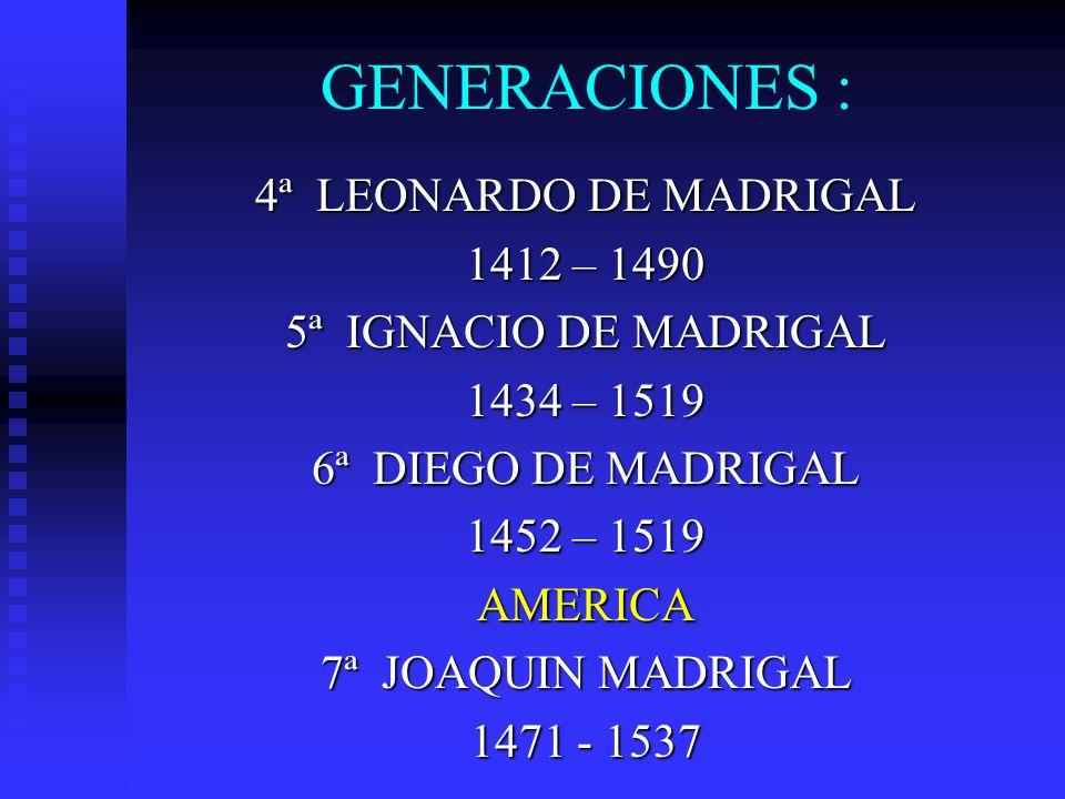 GENERACIONES : 4ª LEONARDO DE MADRIGAL 1412 – 1490