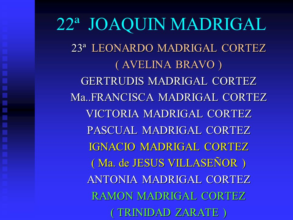 22ª JOAQUIN MADRIGAL 23ª LEONARDO MADRIGAL CORTEZ ( AVELINA BRAVO )