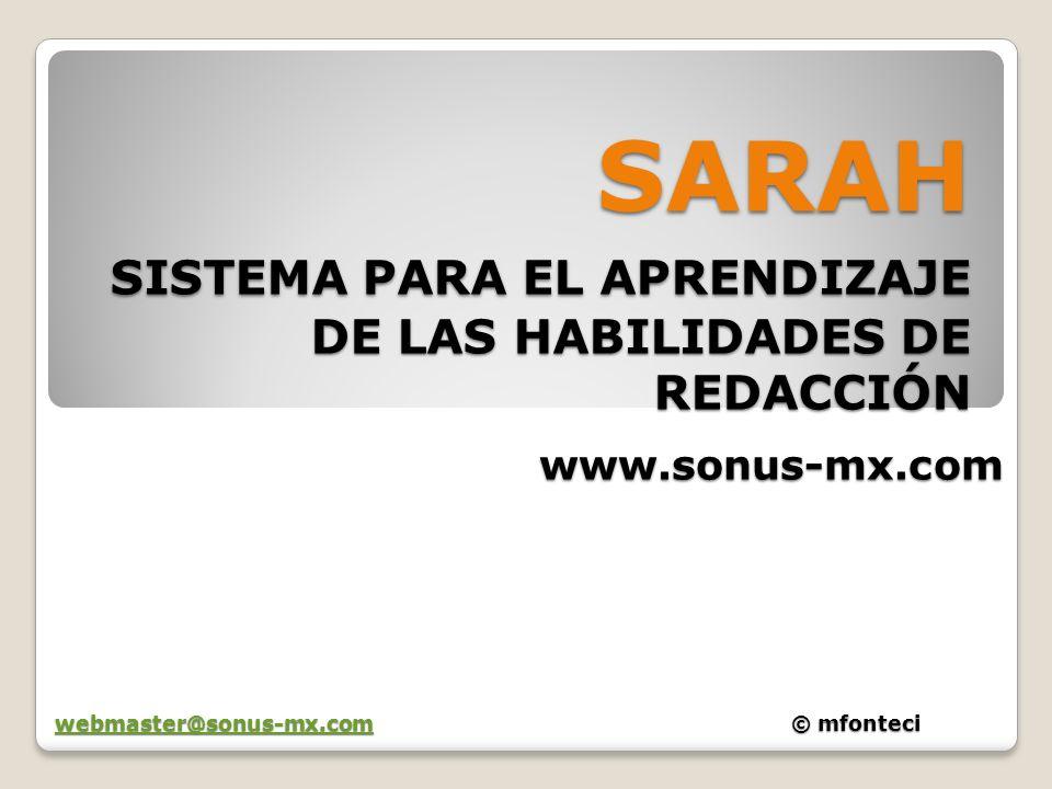 SARAH SISTEMA PARA EL APRENDIZAJE DE LAS HABILIDADES DE REDACCIÓN