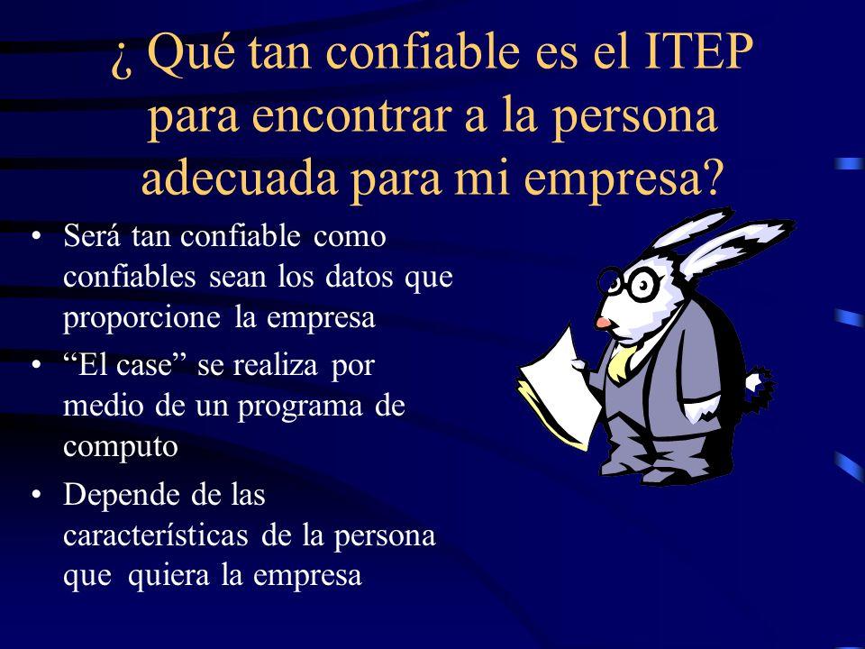 ¿ Qué tan confiable es el ITEP para encontrar a la persona adecuada para mi empresa