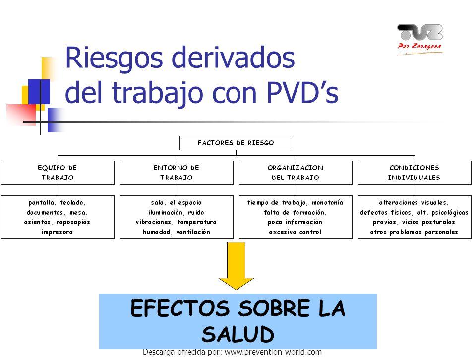 Riesgos derivados del trabajo con PVD's
