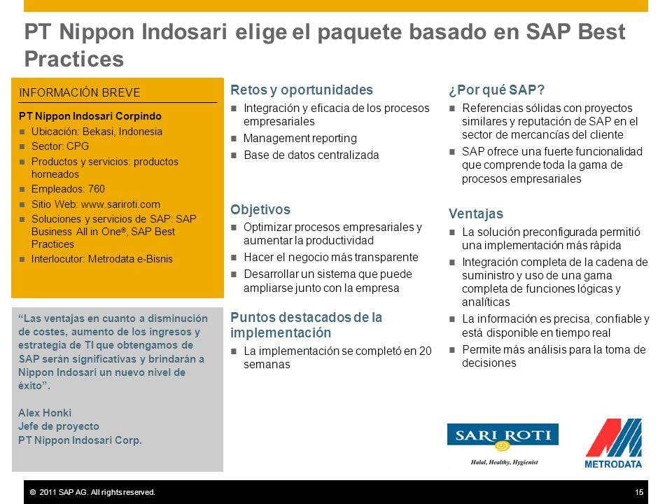 PT Nippon Indosari elige el paquete basado en SAP Best Practices