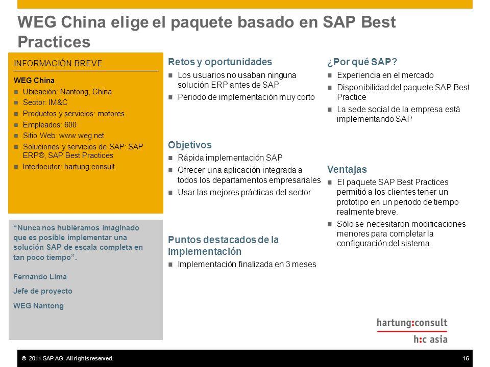 WEG China elige el paquete basado en SAP Best Practices
