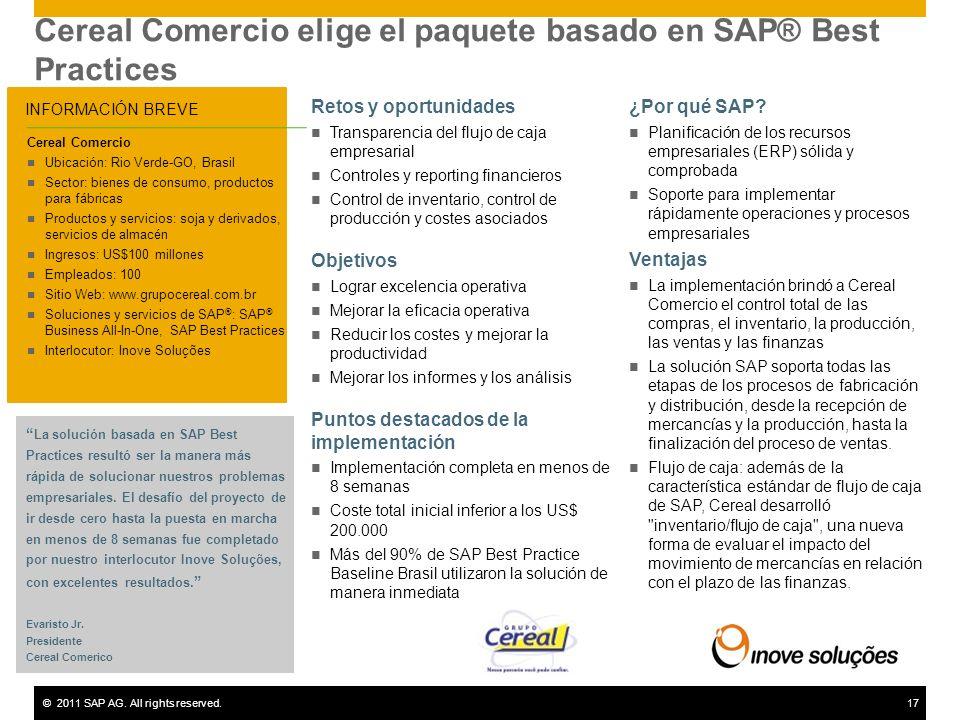 Cereal Comercio elige el paquete basado en SAP® Best Practices