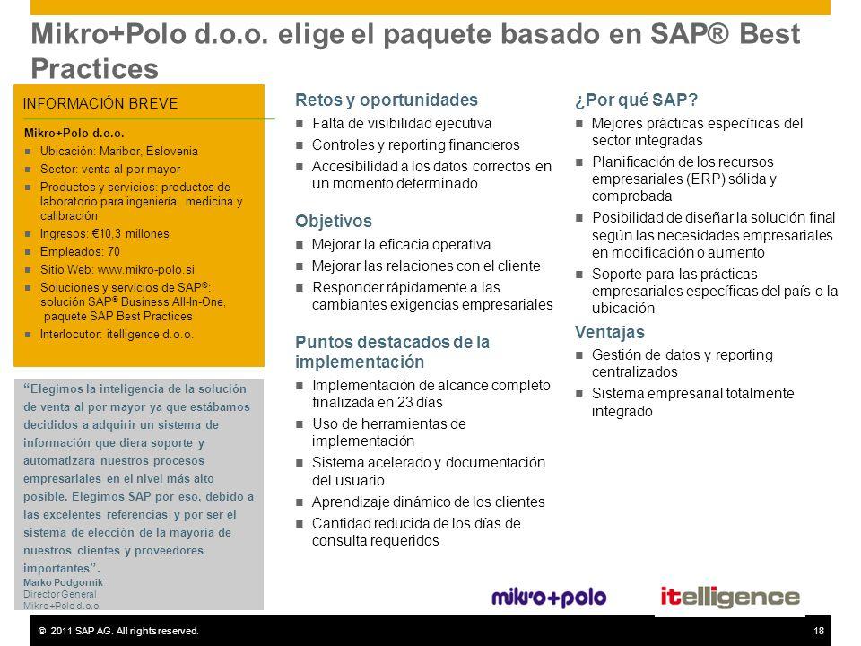 Mikro+Polo d.o.o. elige el paquete basado en SAP® Best Practices