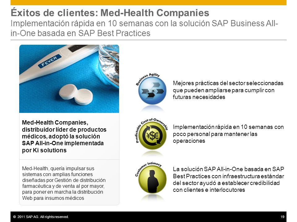 Éxitos de clientes: Med-Health Companies Implementación rápida en 10 semanas con la solución SAP Business All-in-One basada en SAP Best Practices