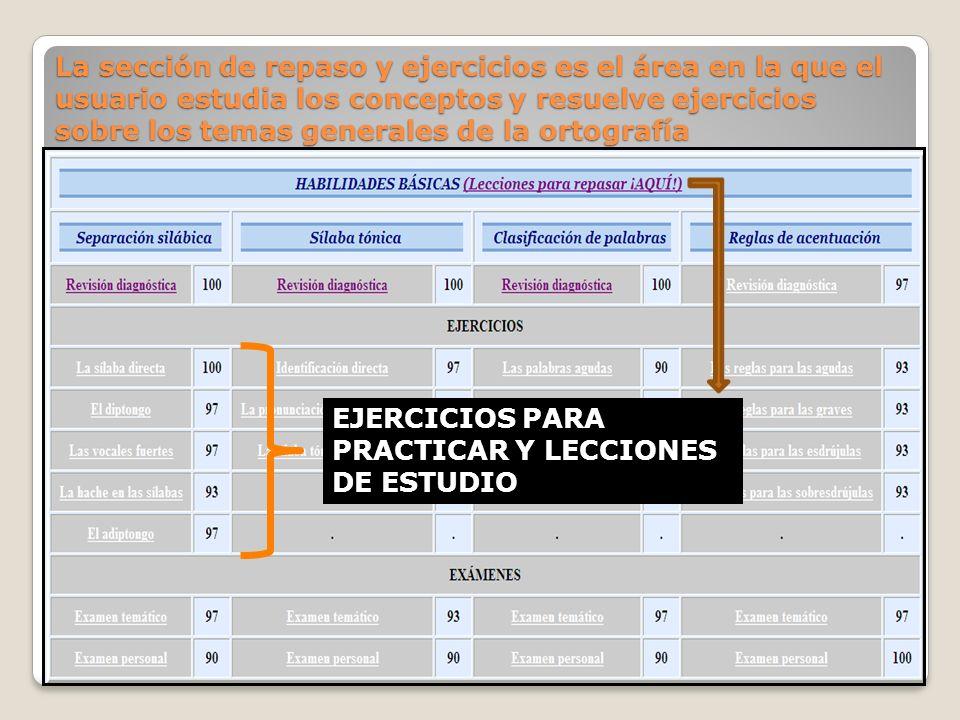 La sección de repaso y ejercicios es el área en la que el usuario estudia los conceptos y resuelve ejercicios sobre los temas generales de la ortografía