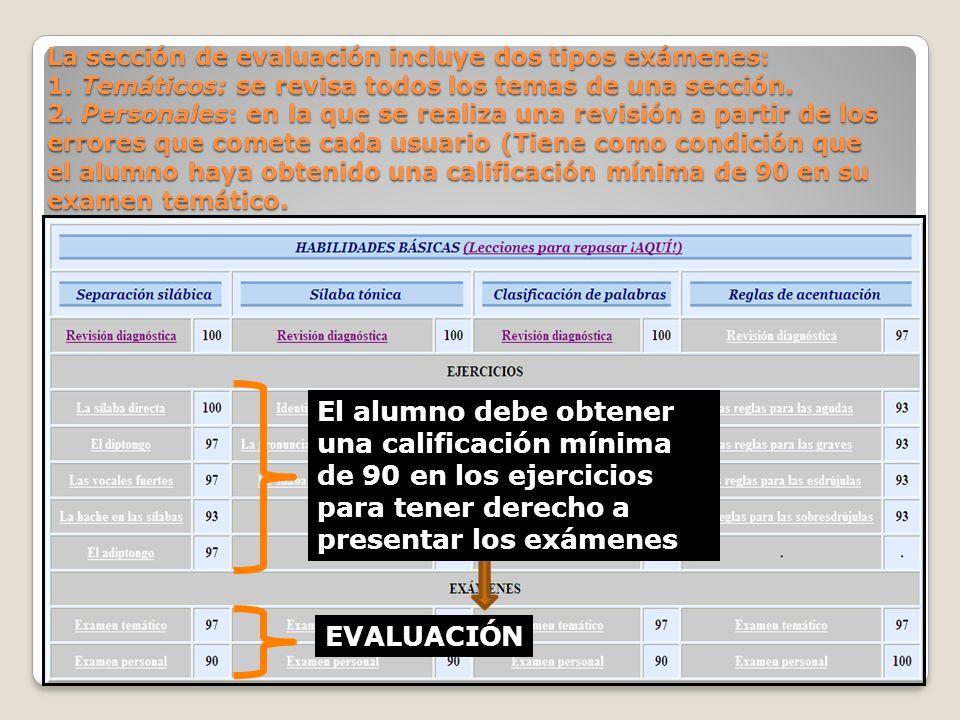 La sección de evaluación incluye dos tipos exámenes: 1