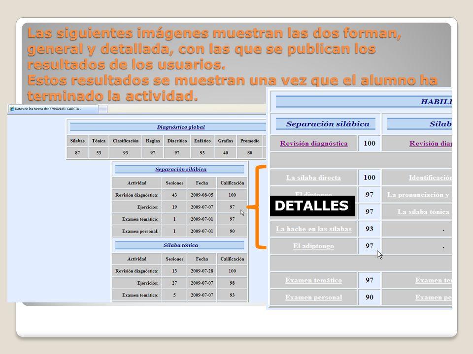 Las siguientes imágenes muestran las dos forman, general y detallada, con las que se publican los resultados de los usuarios.
