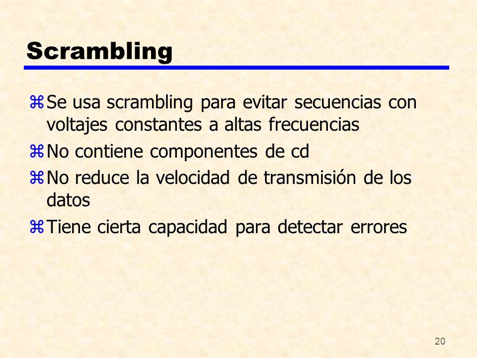 Scrambling Se usa scrambling para evitar secuencias con voltajes constantes a altas frecuencias. No contiene componentes de cd.