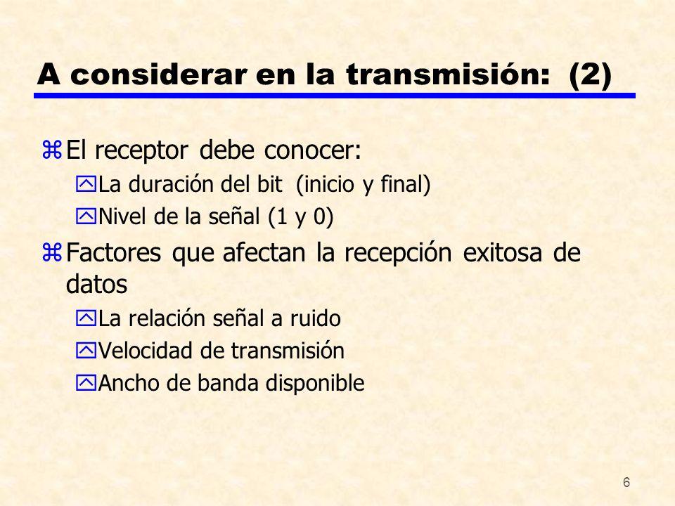 A considerar en la transmisión: (2)
