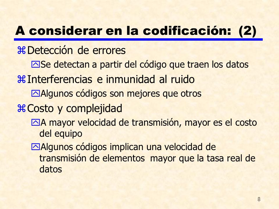 A considerar en la codificación: (2)