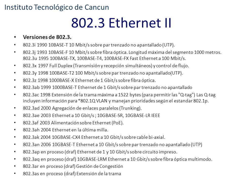 802.3 Ethernet II Instituto Tecnológico de Cancun Versiones de