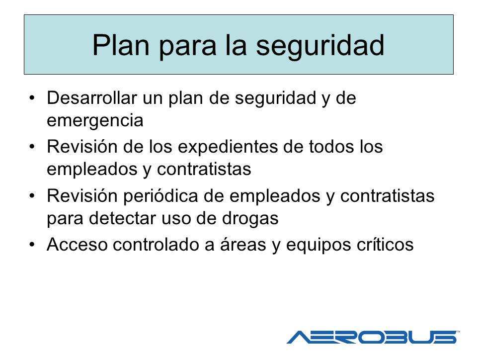 Plan para la seguridad Desarrollar un plan de seguridad y de emergencia. Revisión de los expedientes de todos los empleados y contratistas.