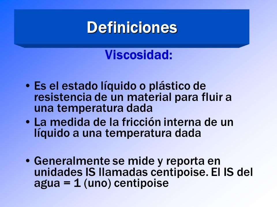 Definiciones Viscosidad: