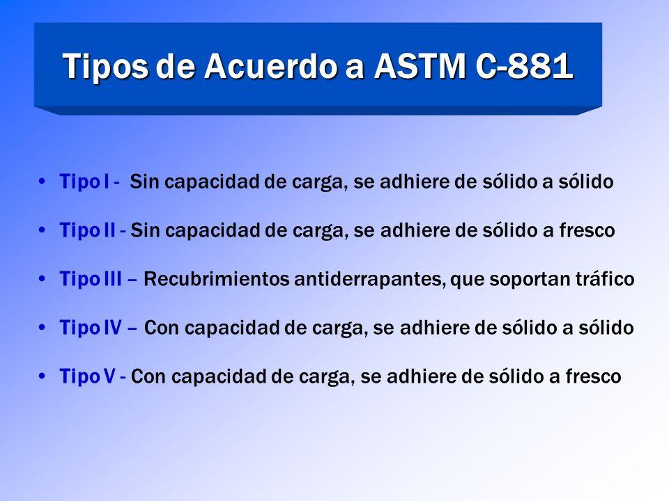 Tipos de Acuerdo a ASTM C-881