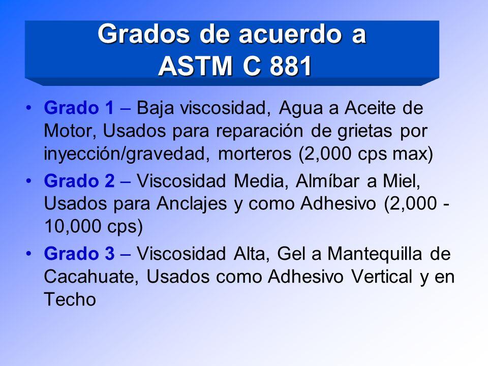 Grados de acuerdo a ASTM C 881