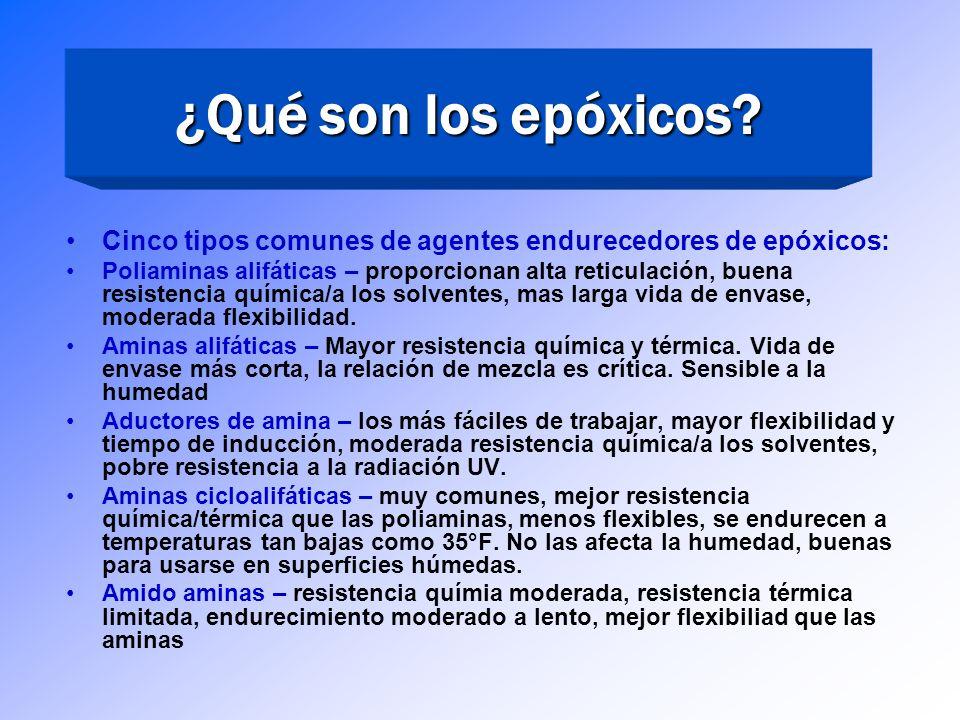 ¿Qué son los epóxicos Cinco tipos comunes de agentes endurecedores de epóxicos: