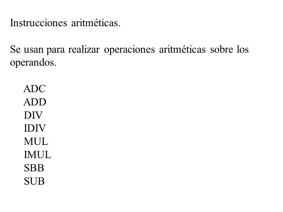 Instrucciones aritméticas.