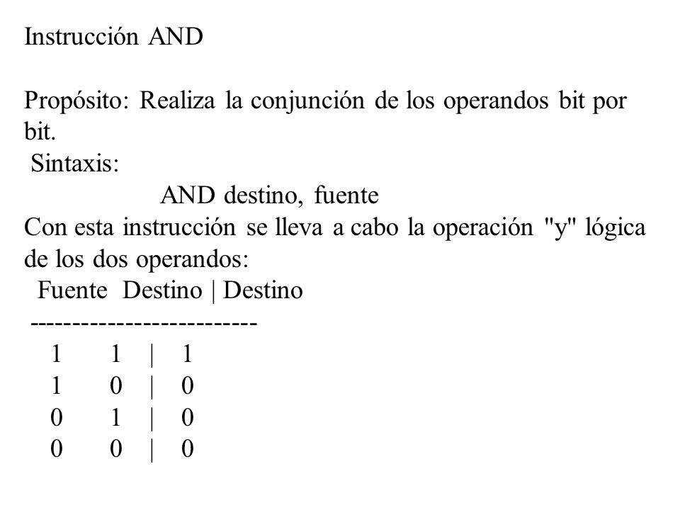 Instrucción AND Propósito: Realiza la conjunción de los operandos bit por bit. Sintaxis: AND destino, fuente.